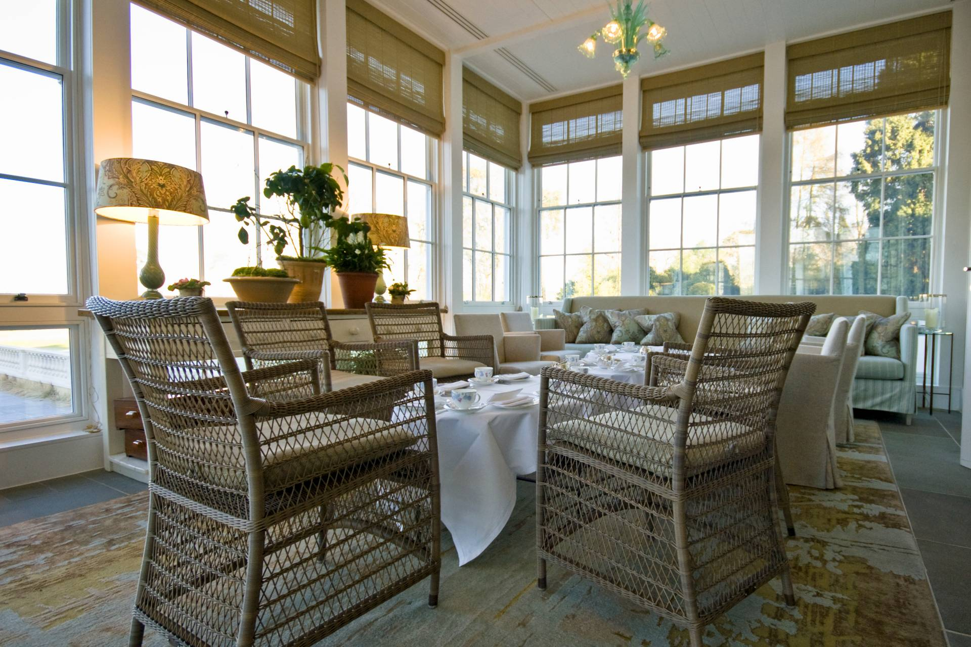 Coworth Park dining area in conservatory