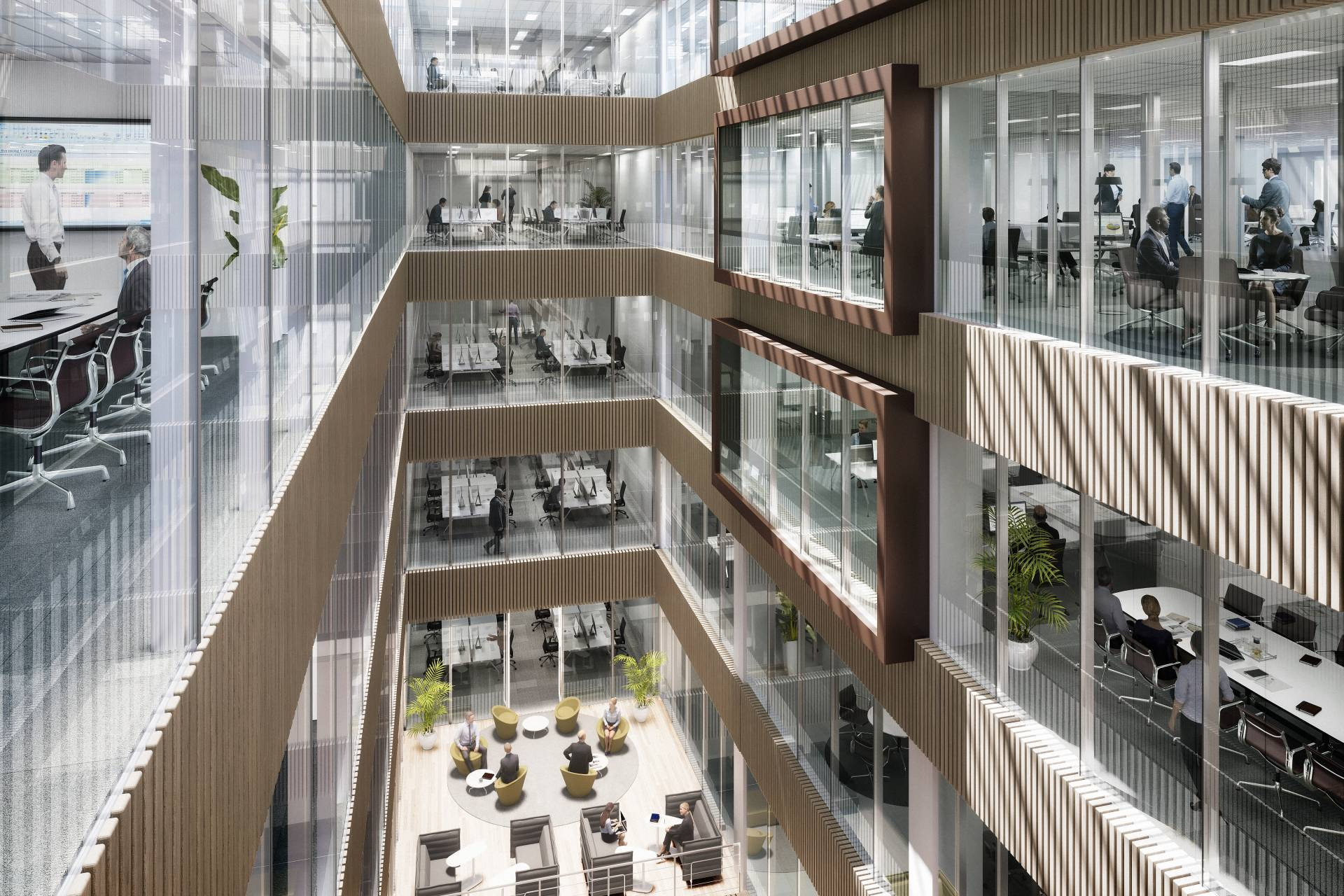 160 Aldersgate atrium with desks on outside