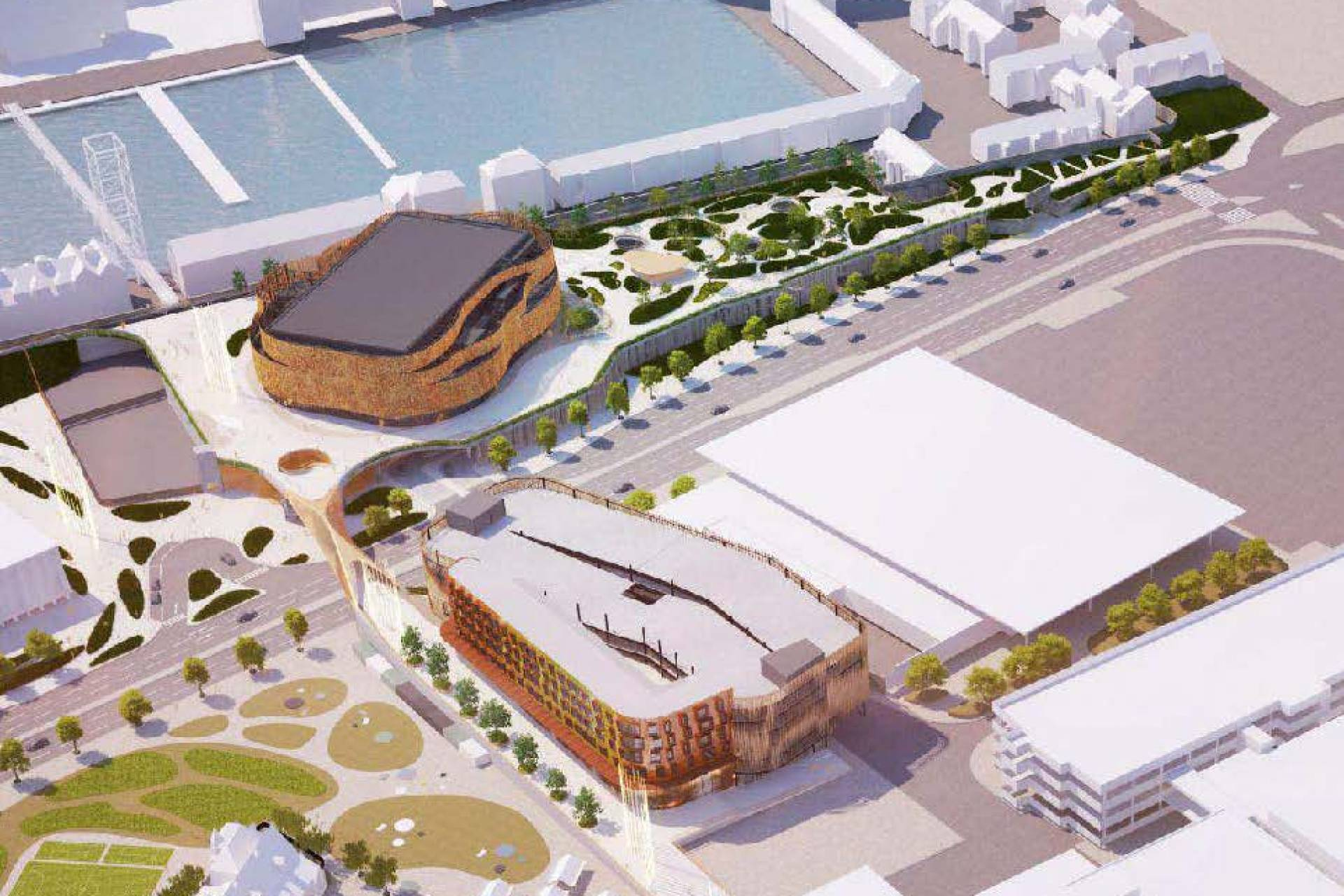 Swansea Arena from above cgi