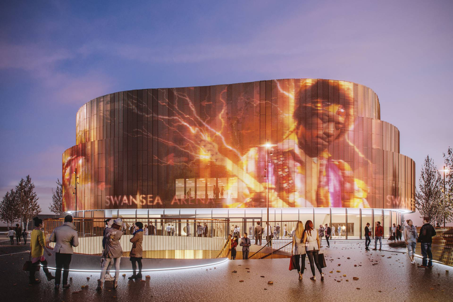 Swansea Arena Interactive Facade showing Jimmy Hendrix